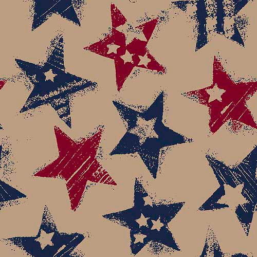 """Springs Creative Burlap Prints Rustic Stars, Multi-Colored, 47/48"""" Wide, Fabric By the Yard"""