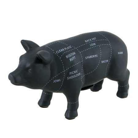 Large Black Ceramic Pig Shaped Coin Bank Butcher Chart Piggy Bank 7 1/4 (Piggy Large Coin)