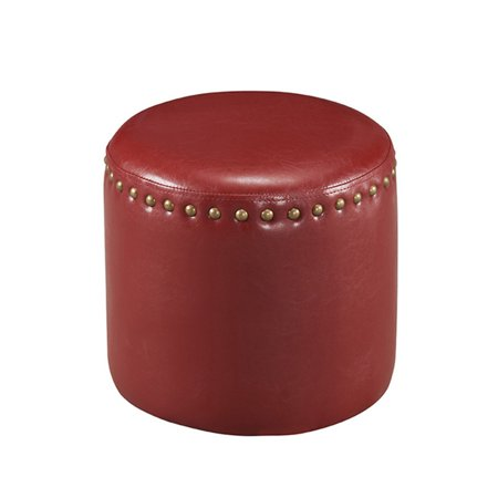 K Furniture Faux Leather Round Ottoman