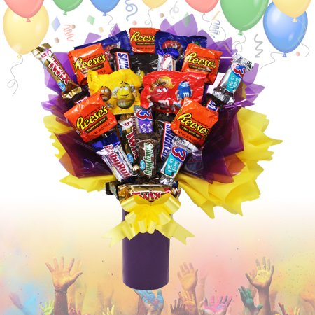 Candy Bouquet Fun Sized Mini Candy Variety Assortment - Congratulations - Birthday Mini Candy Bouquet