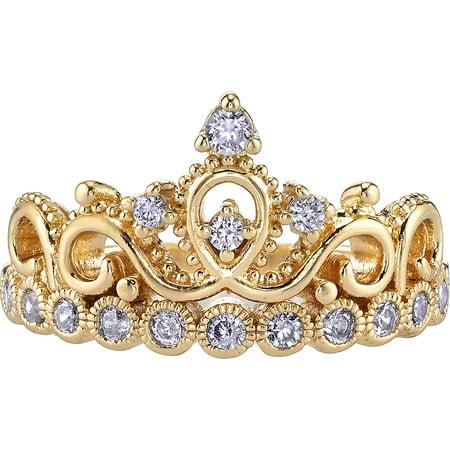 14K Yellow Gold Cubic Zirconia Crown Ring (April) (7)