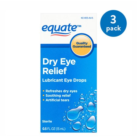 (3 Pack) Equate Dry Eye Relief Lubricant Eye Drops, 0.5