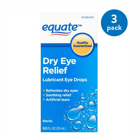 (3 Pack) Equate Dry Eye Relief Lubricant Eye Drops, 0.5 Oz