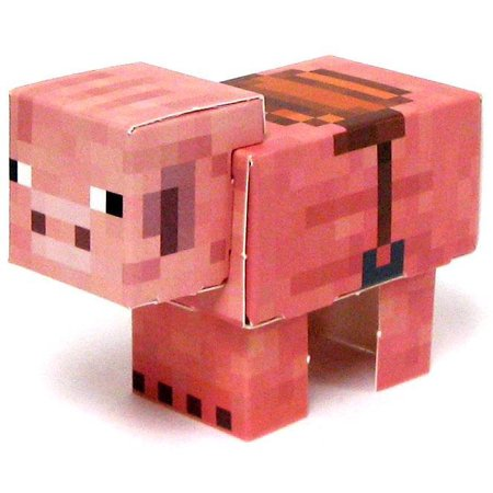 Minecraft Pig with Saddle Papercraft [Single Piece] - Minecraft Craft Ideas For Kids