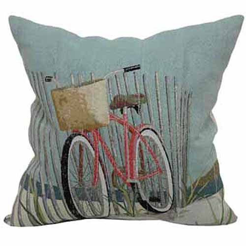 """Better Homes and Gardens Beach Bicycle Decorative Toss Pillow 18"""" x 18"""