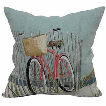 "Better Homes and Gardens Beach Bicycle Decorative Toss Pillow 18"" x 18"""