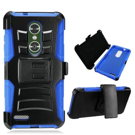 Phone Case for Walmart Family Mobile ZTE ZMAX PRO (T-Mobile) Combo Holster  with Rugged Cover Kickstand ( Hoslster Blue Edge Cover Kickstand )