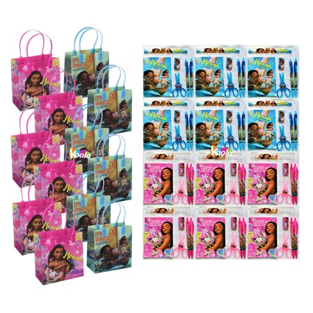 12pcs Disney Moana Goodie Gabs Party Favor Birthday Gift Bags w/ Stationery Set