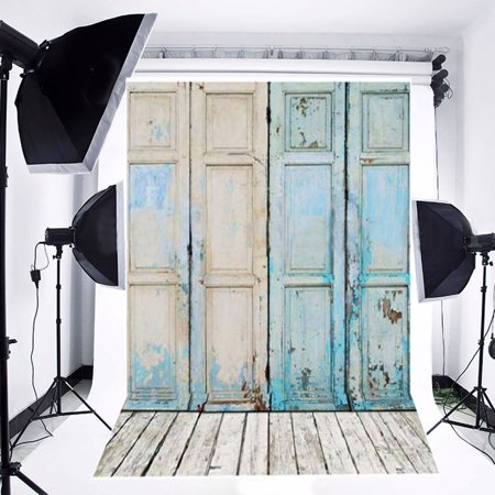 ABPHOTO Polyester 5x7ft Retro Door Theme Wooden Floor Studio Photo Photography Background Studio Backdrop Props Best for Wedding, Personal Photo Wall Decor Baby Children Kids Newborn