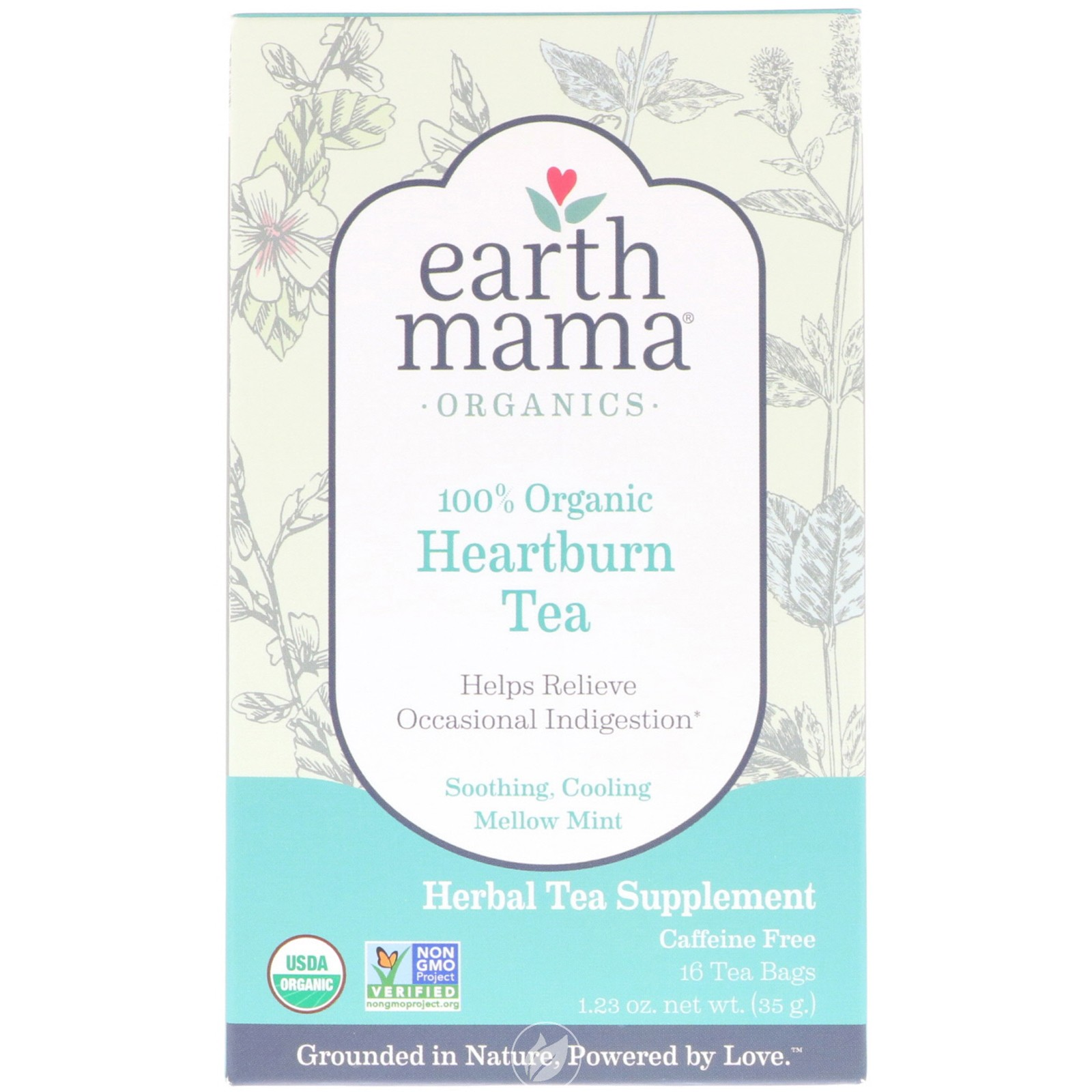 Earth Mama Angel Baby Organic Heartburn Tea 16 Bag, Pack of 2