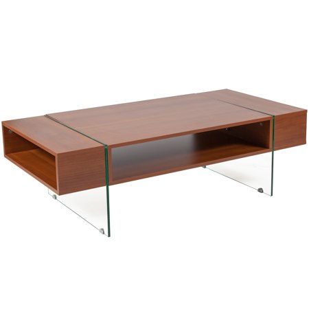 Flash Furniture Lafayette Place Cherry Wood Grain Finish Coffee Table with Glass (Best Finish To Bring Out Wood Grain)