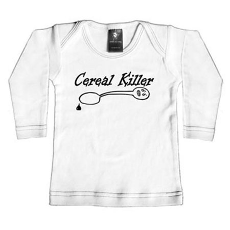 Cereal Killers (Rebel Ink Baby 359wls06 Cereal Killer- 0-6 Month White Long Sleeve)