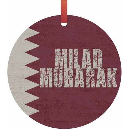 Qatar flag milad mubarak hanging round shaped tree ornament