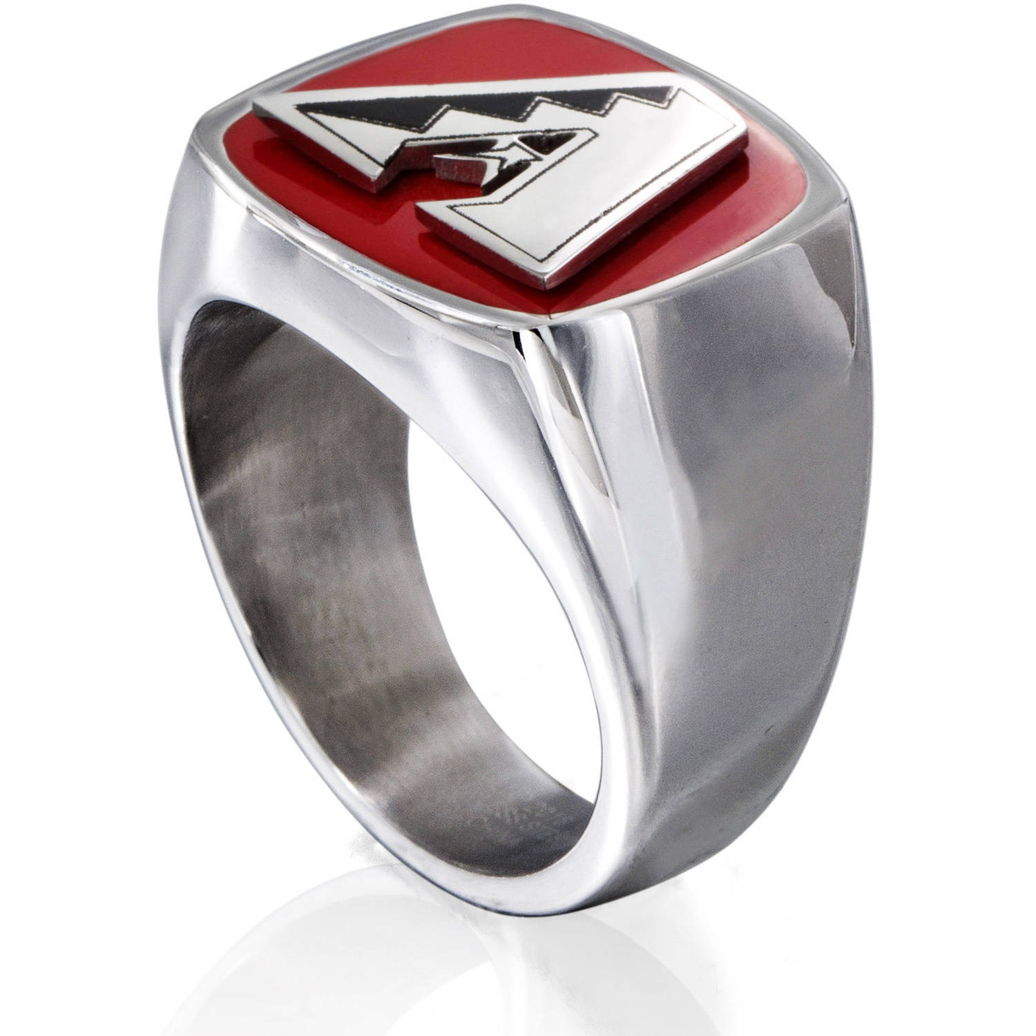 MLB License Stainless Steel Arizona Diamondbacks Logo Ring