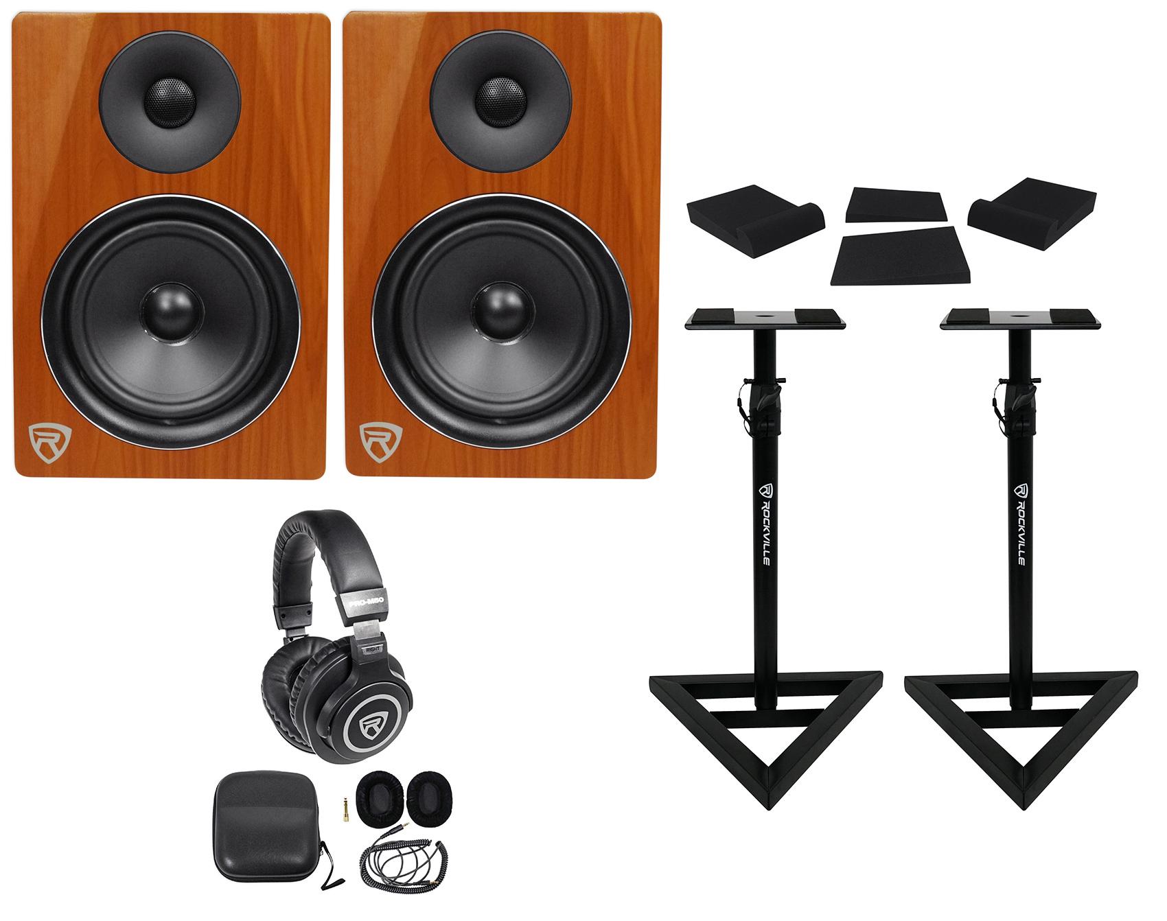 "2) Rockville DPM6C 6.5"" 420w Dual Powered Studio Monitors+Stands+Pads+Headphones by ROCKVILLE"