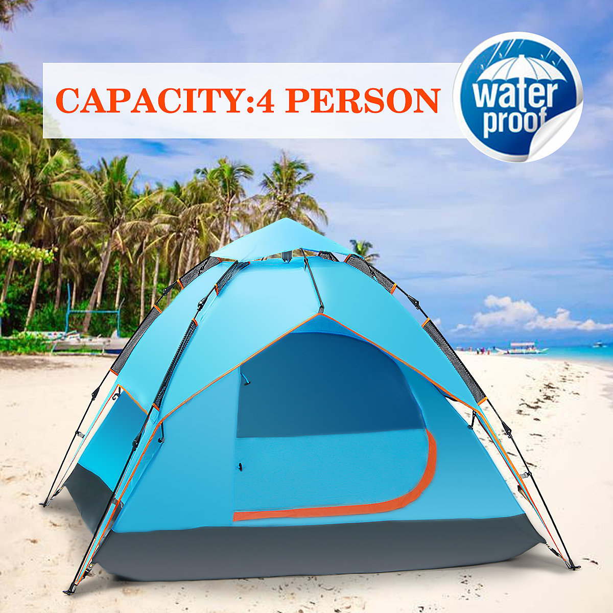NewEST 3-4 persons Waterproof & UV & Rain Water Resistant Double Layer Large Outdoor Camping Hiking Pop up Tent Base... by