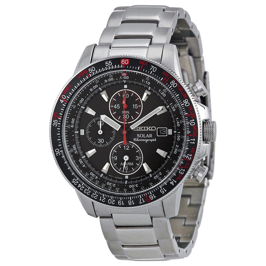 Seiko Prospex Solar Chronograph Black Dial Mens Watch SSC007