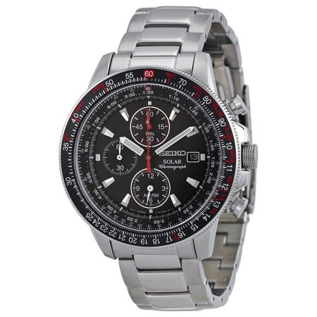 Seiko Prospex Solar Chronograph Black Dial Mens Watch SSC007