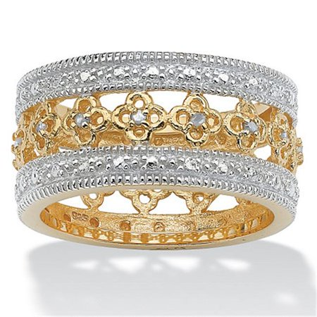 PalmBeach Jewelry 465357 1/8 TCW Round Diamond 18k Gold over Sterling Silver Filigree Flower Motif Eternity Band Size 7