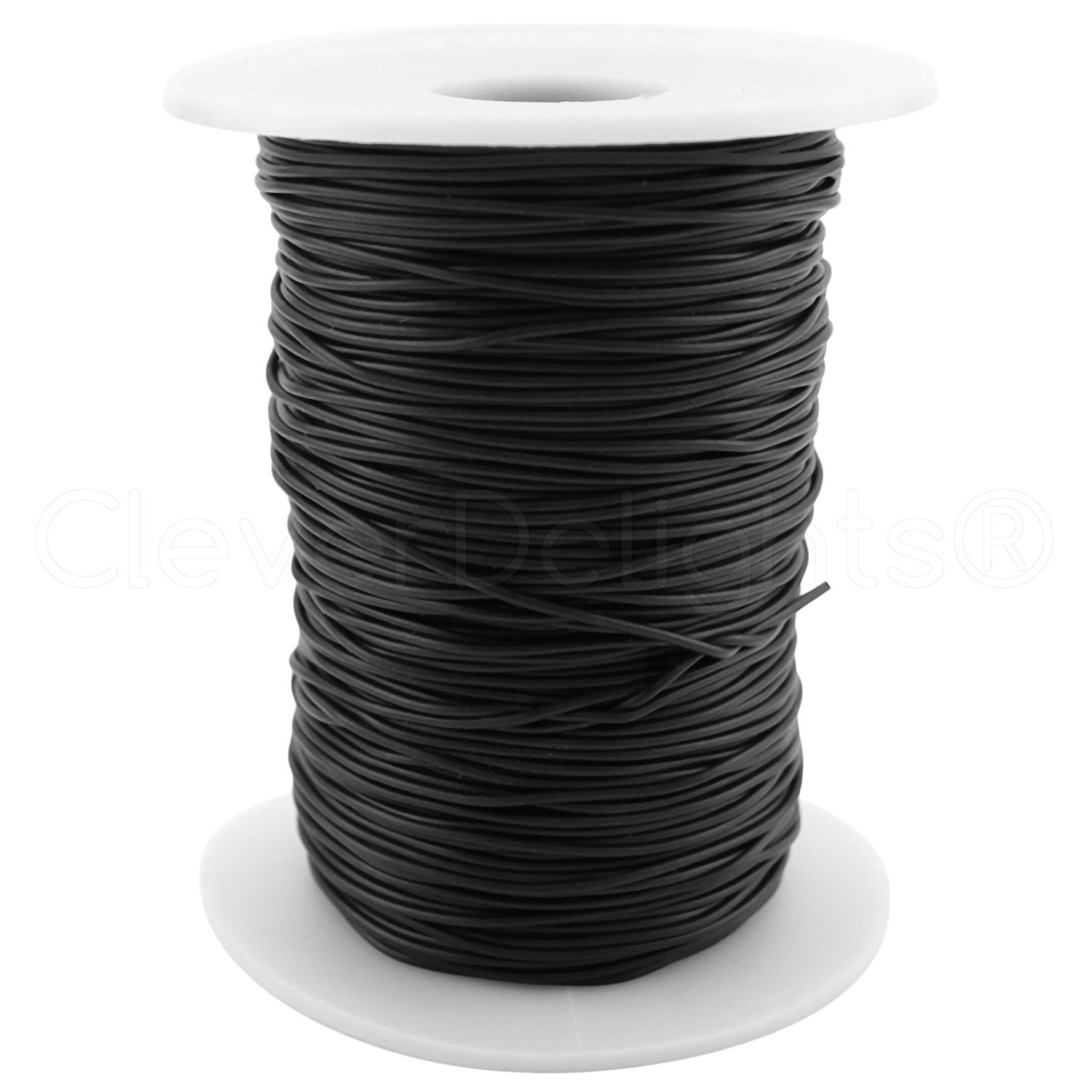 "CleverDelights Black Solid Rubber Cord - 300 Feet - 1mm (1/32"") Round"