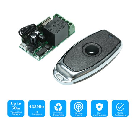 - 433Mhz DC 12V Universal RF Relay Receiver Module Mini 1CH Wireless Control Switch + 1PCS RF 433 Mhz Transmitter Remote Controls For Household Appliances Electronic Lock Control 1527 Chip
