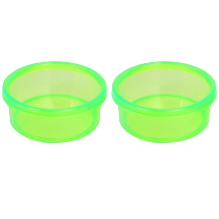 Unique Bargains 2Pcs Plastic Dinner Food Water Feeding Bowl Feeder Clear Green For Pet Dog Puppy
