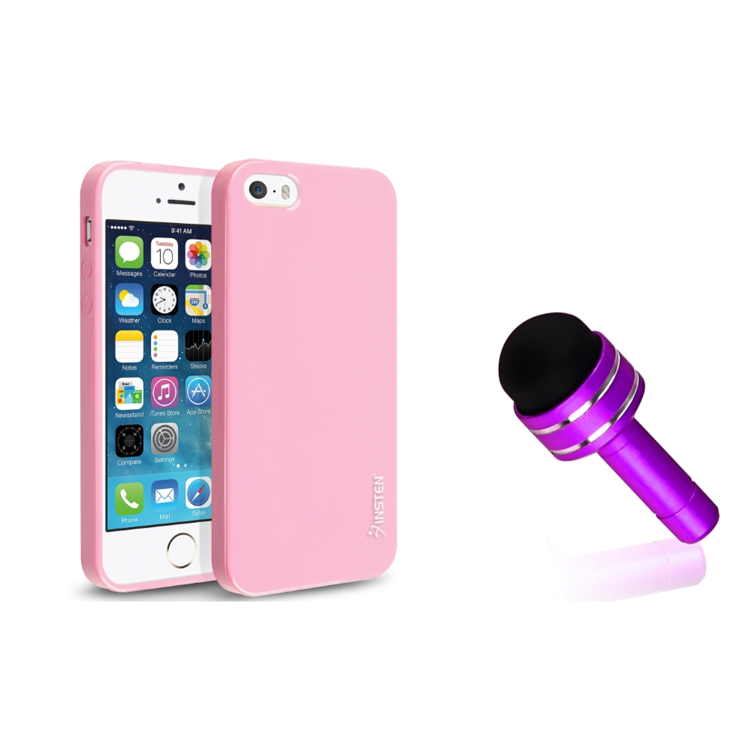 Insten For iPhone 5S 5 Pudding Light Pink TPU Gel Jelly Case+Dust Jack Stylus