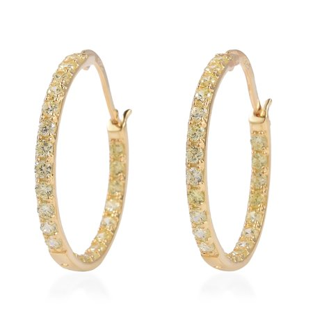 9d07c212e Shop LC - Silver Yellow Cubic Zirconia CZ Hoops, Hoop Earrings  Hypollergenic Jewelry Gift Cttw 1.5 - Walmart.com