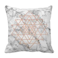 ARTJIA Geometry Pink Rose Gold Triangle Marble Black Pillowcase 18x18 inch