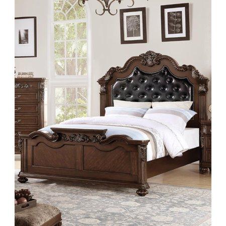 Ornated Carved & Upholstered Black PU Tufted Wooden C.Kingn Bed Dark Walnut ()