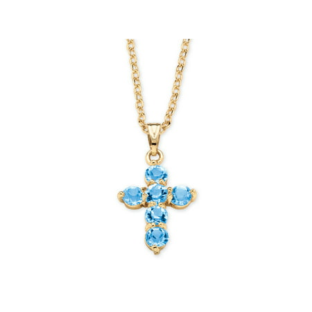 Birthstone Cross Pendant Necklace in Yellow Gold Tone Aquamarine Religious Cross