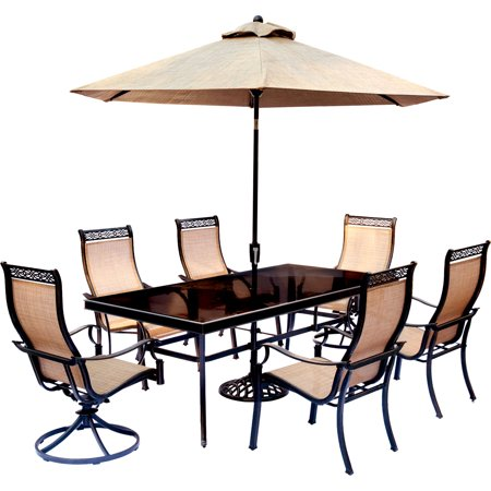 Image of Hanover MONDN7PCSW2G-SU Tan Monaco Seven Piece Glass Top Aluminum Outdoor Dining Set