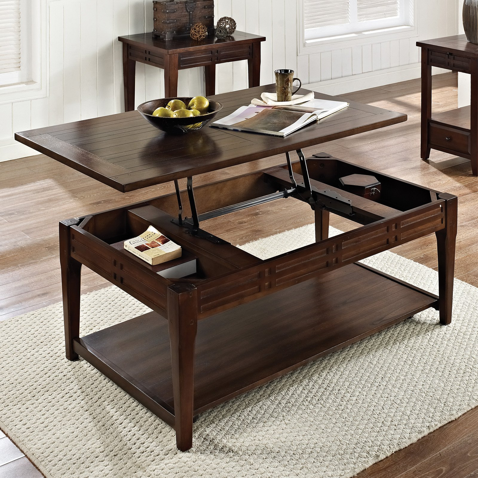 Steve Silver Crestline Rectangle Distressed Walnut Wood Lift Top