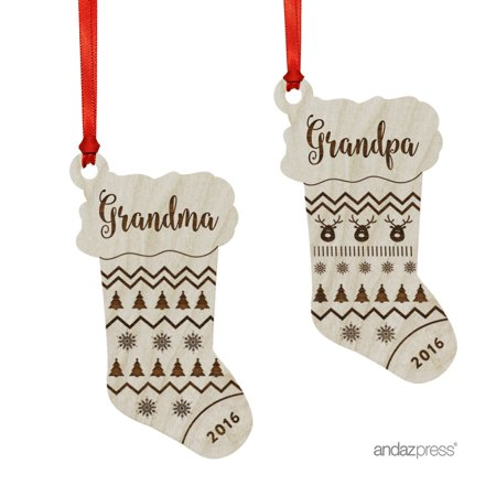 Laser Engraved Wood Christmas Ornament with Gift Bag, Grandma, Grandpa, 2017, Stocking Shape, 2-Pack