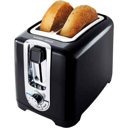 BLACK+DECKER 2-Slice Toaster with Bagel Function, Black, TR1256B