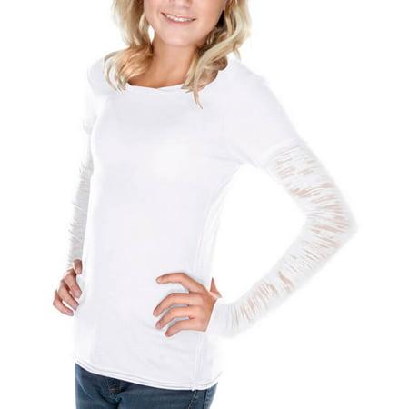 Kavio! Big Girls 7-16 Raw Edge Two-Fer Burnout Long Sleeve White L (Burnout Fabric Long Sleeve Roll)