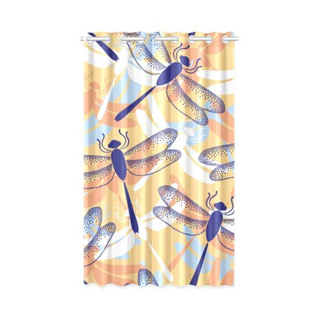 MKHERT Colorful Dragonflies Window Curtain Living Room,Bedroom Window Drapes 52x84 -