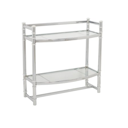 Preston Glass Shelf - Zenna Home 9012SS Chrome Wall Shelf With Tempered Glass Shelves