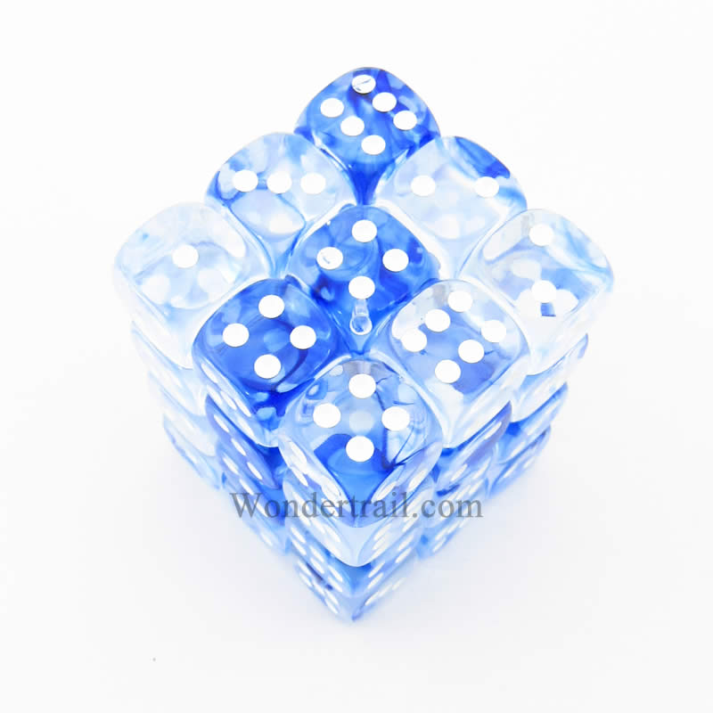 Blue Nebula Dice with White Pips D6 12mm (1/2in) Pack of 36 Chessex