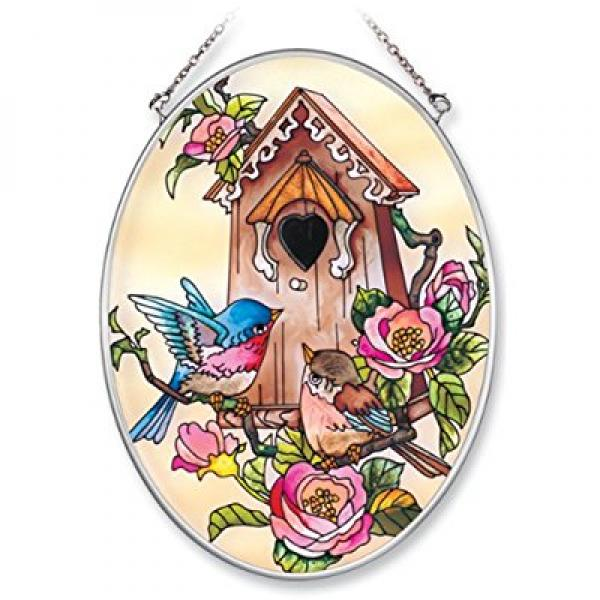 Amia Hand Painted Glass Suncatcher with Bluebird and Birdhouse Design, 5-1/4-Inch by 7-Inch Oval