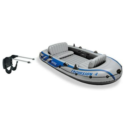 Intex Excursion 4 Inflatable River/Lake Boat Raft Set & Motor Mount (Intex Raft)