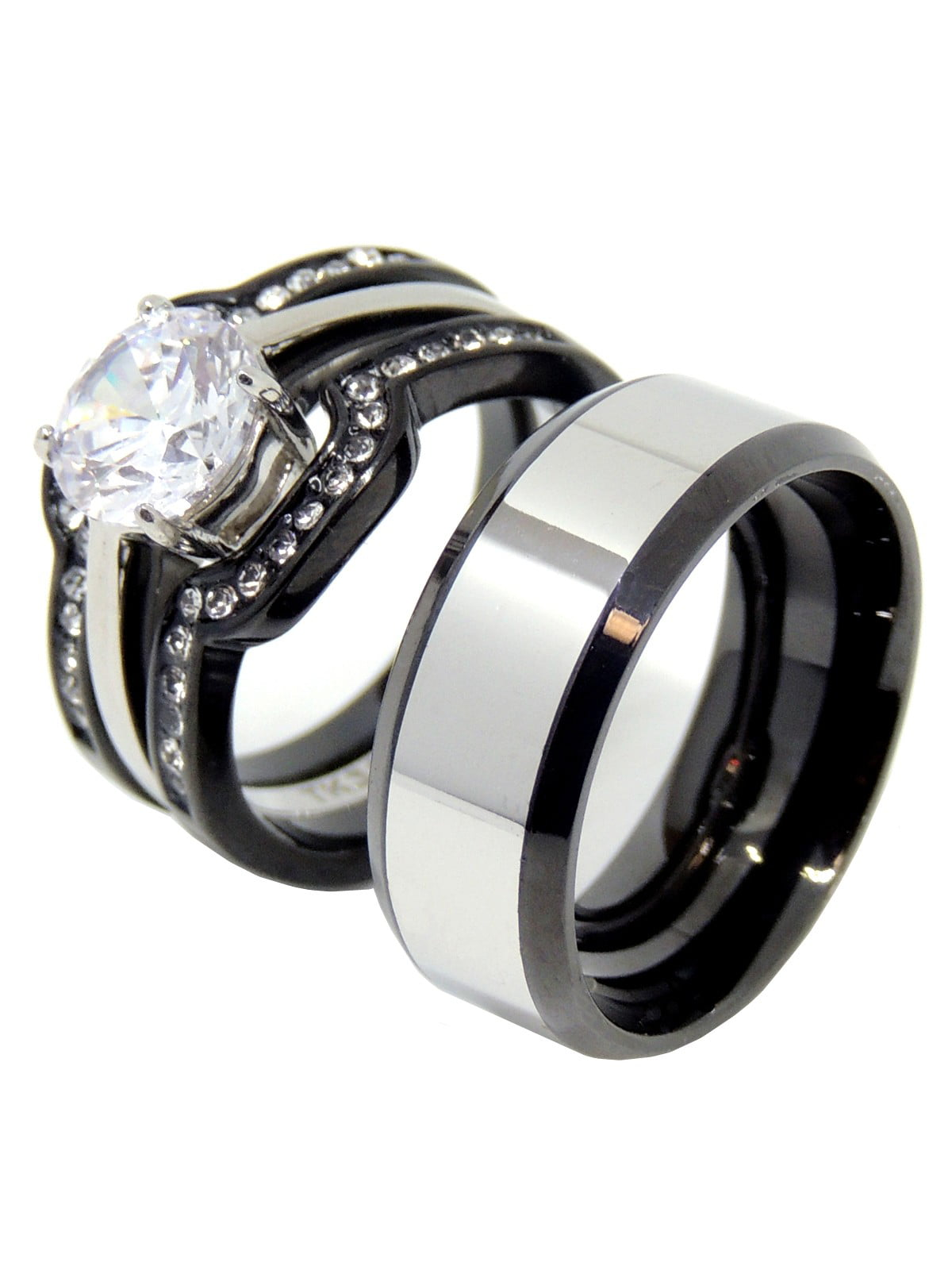 La Ny Jewelry His Hers Couple Ring Set Hers Two Tone Black
