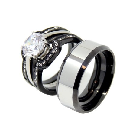 His Hers Couple Ring Set Hers Two-Tone Black Wedding Ring Set Mens Two Tone Band- Size