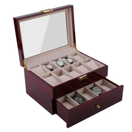 20 Grids Wood Watch Display Case Jewelry Storage Holder Gift Box Organizer
