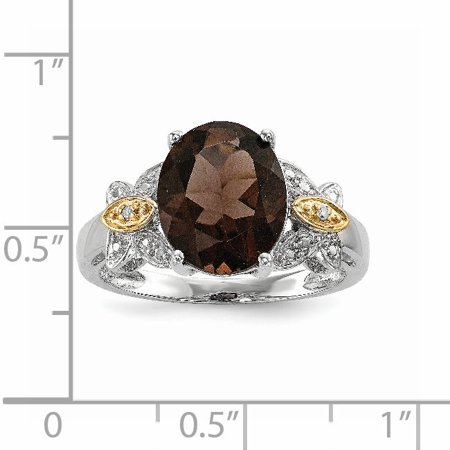 925 Sterling Silver 14k Smoky Quartz Diamond Band Ring Size 8.00 Stone Gemstone Fine Jewelry For Women Gifts For Her - image 2 of 9