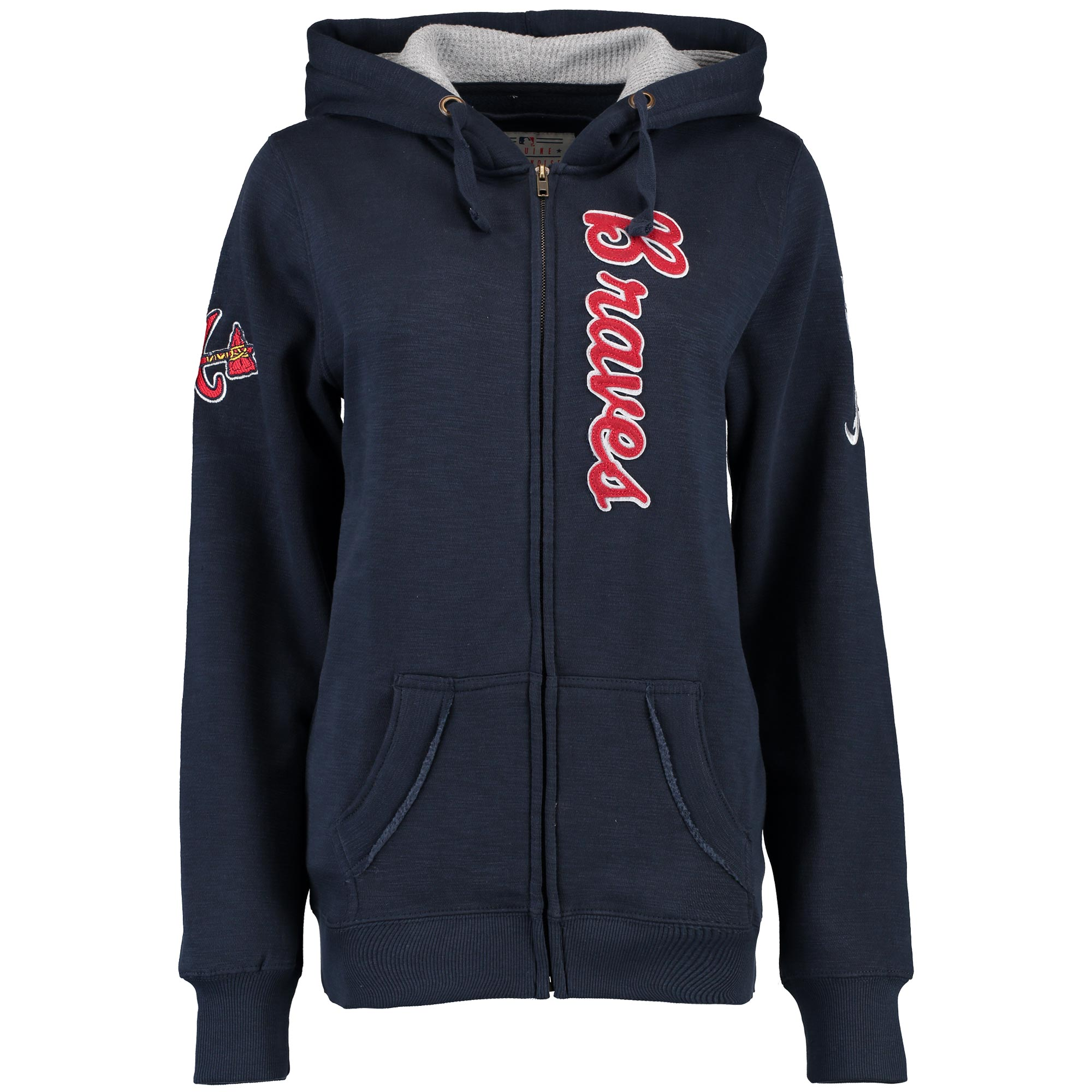 Atlanta Braves Soft as a Grape Women's Vintage Slub Full-Zip Hoodie - Navy