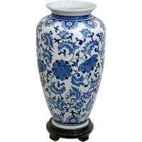 "Oriental Furniture 14"" Floral Blue & White Porcelain Tung Chi Vase"