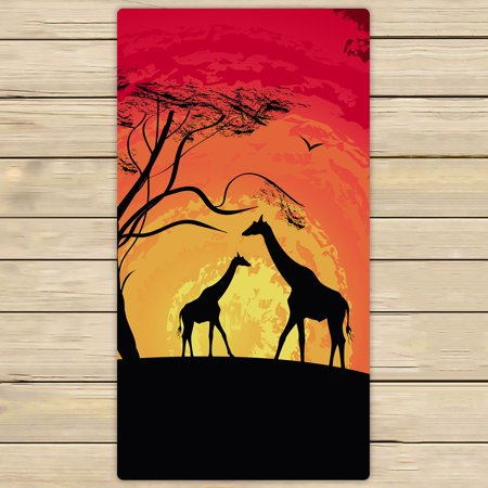 YKCG African Safari Animal Tree of Life Sunset Giraffe Hand Towel Beach Towels Bath Shower Towel Bath Wrap For Home Outdoor Travel Use 30x56 inches (Giraffe Towel)