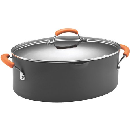 rachael ray hard anodized ii nonstick dishwasher safe 8-quart covered oval pasta pot, orange Dishwasher Safe Stock Pot