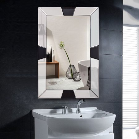 Mirror Frame Mount - Costway 23.5'' x 35.5'' Rectangular Wall-Mounted Wooden Frame Vanity Mirror Glass Bathroom